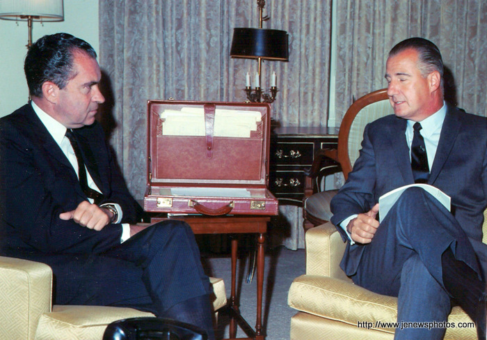 nixon office. The Digraced Leaders\u201d Pres Richard Nixon And Vice Spiro Agnew Meet. They Were Only Later To Resign Their Office In Disgrace